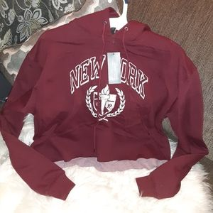 Wild Fable Cropped Hoodie New York Graphic - Berry